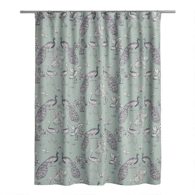 Jadeite and Navy Peacock Marlena Shower Curtain