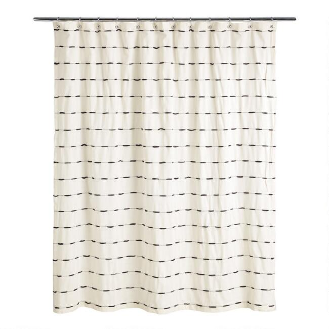 Ivory and Black Woven Stripe Taylor Shower Curtain