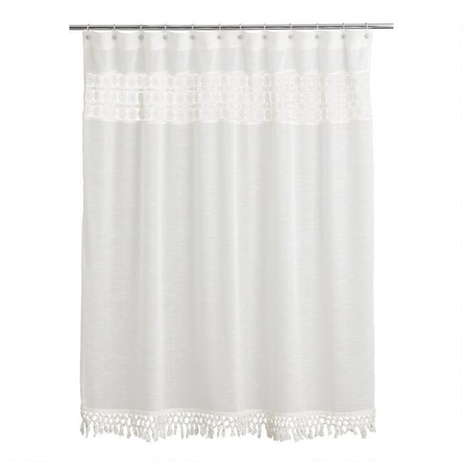 Ivory Crocheted Alessandra Shower Curtain with Tassels