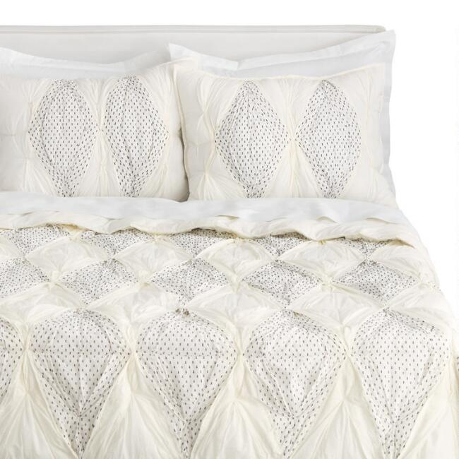 Ivory and Black Diamond Dottie Bedding Set