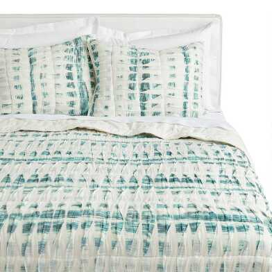 Ivory and Dark Teal Pintucked Quilt