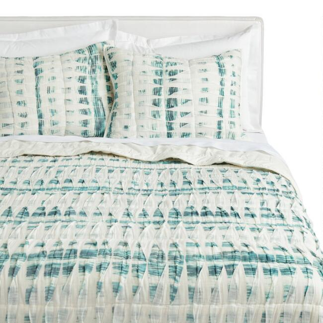 Ivory and Dark Teal Pintucked Bedding Set