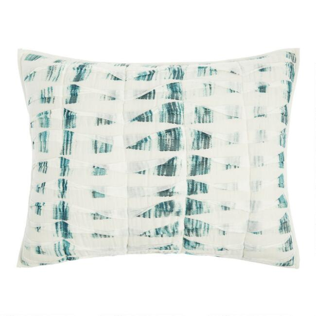 Ivory and Dark Teal Pintucked Pillow Shams Set of 2