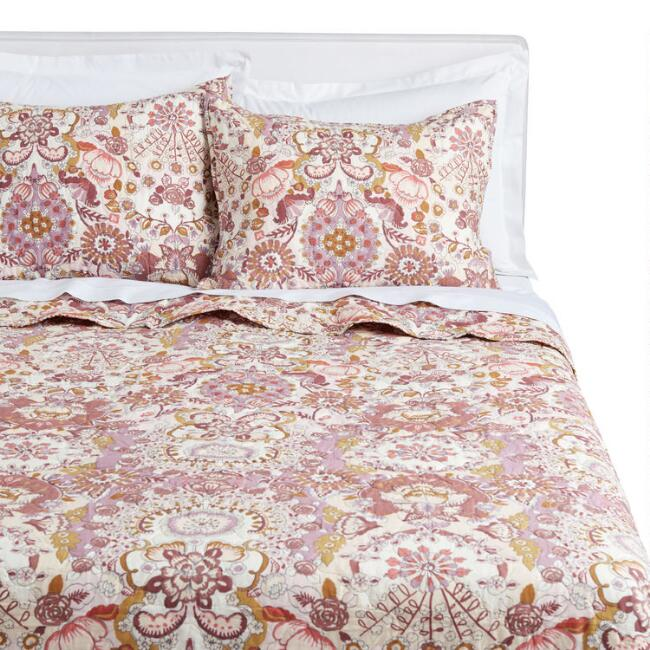 Blush and Terracotta Floral Bettina Reversible Quilt