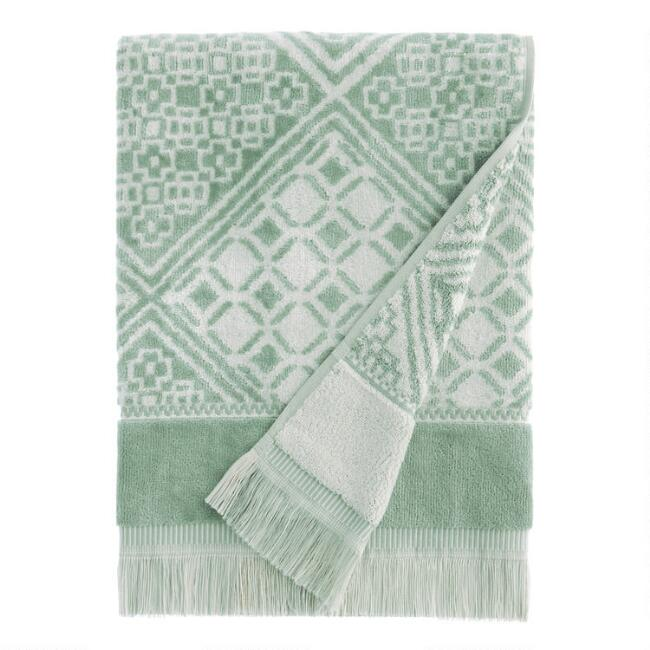 Chinois Green and White Alhambra Bath Towel