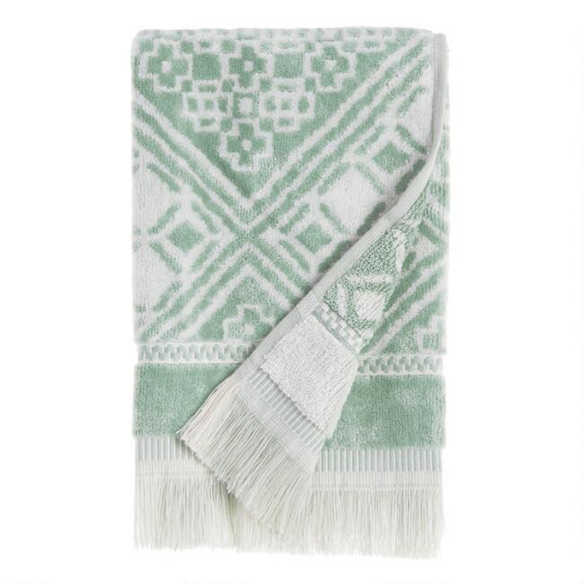 Chinois Green and White Alhambra Hand Towel