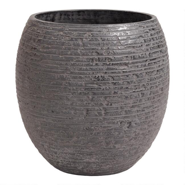 Black Ribbed Cement Sabrosa Outdoor Planter
