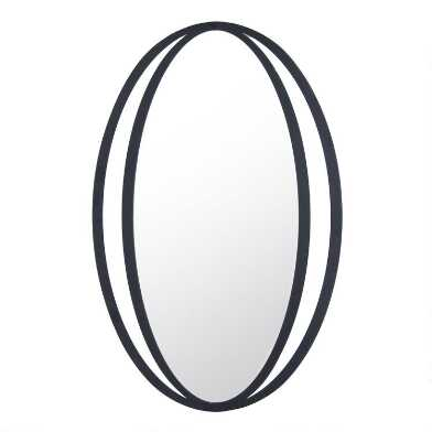 Black Banded Metal Oval Mirror