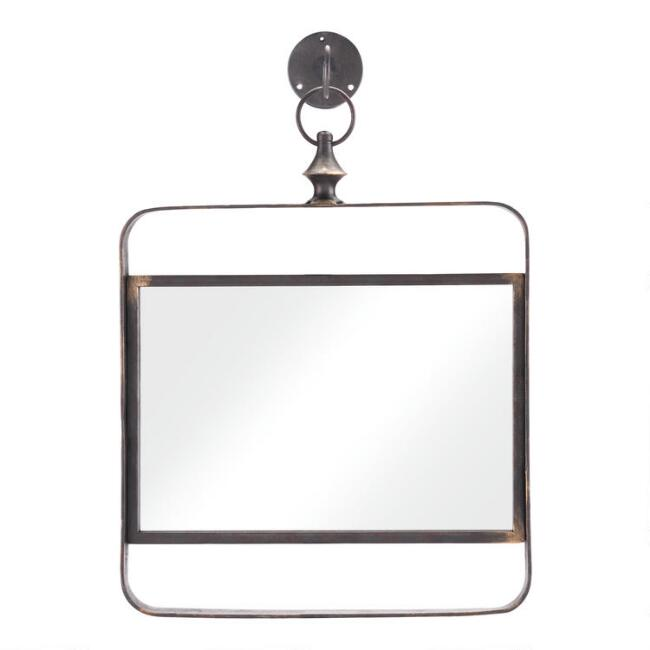 Square Black Metal Mirror with Hook