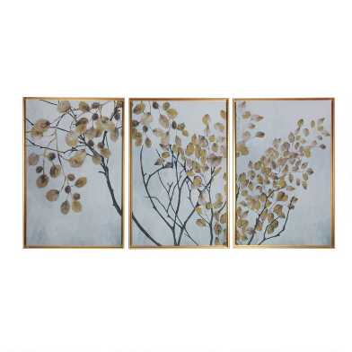 Gold Leaves Triptych Framed Canvas Wall Art 3 Piece