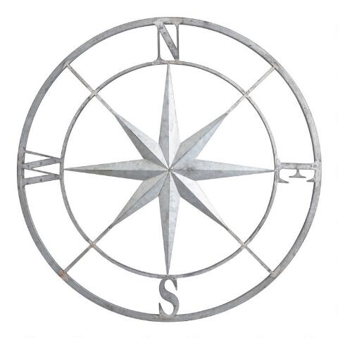 Galvanized Metal Compass Wall Decor | World Market