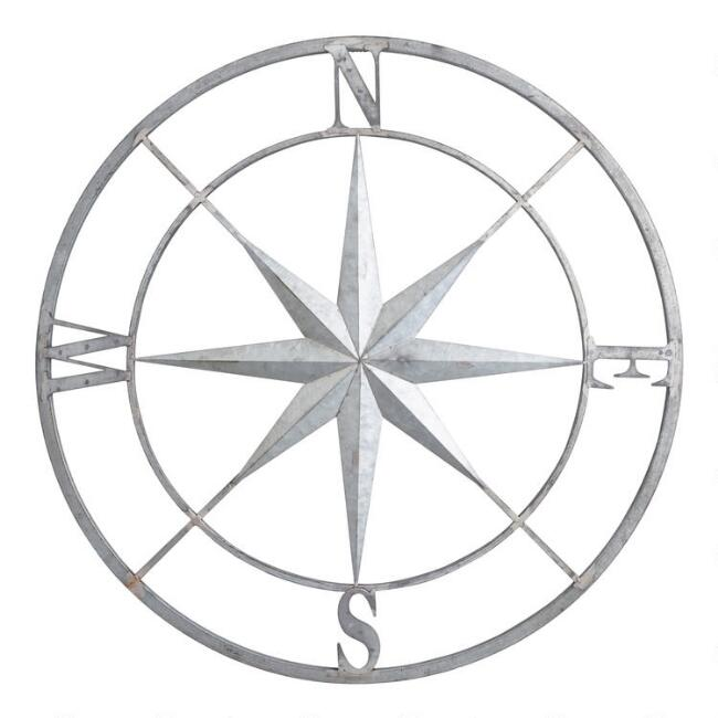Galvanized Metal Compass Wall Decor