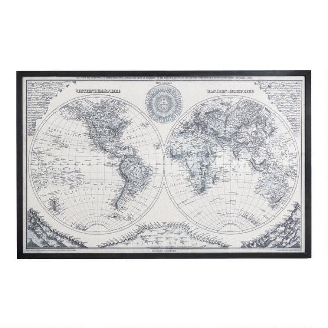 Vintage Style Black And White Cork World Map