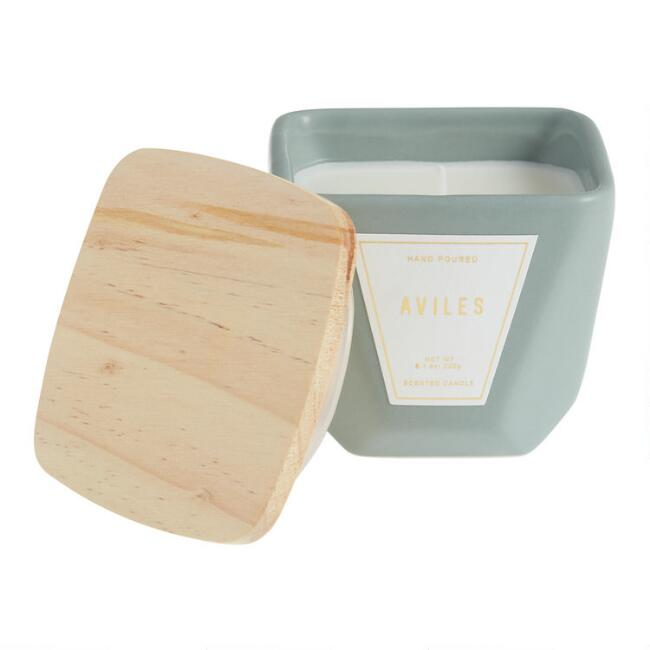 Dusty Aqua Aviles Faceted Ceramic Filled Jar Candle