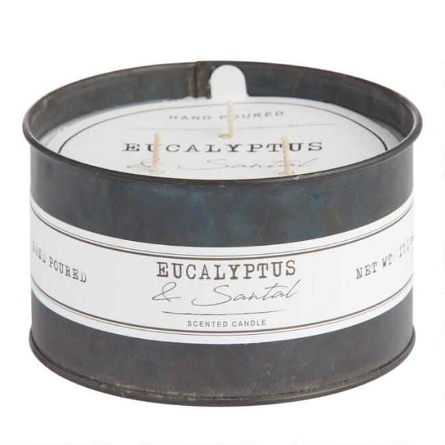 Eucalyptus and Santal Antique Oil Tin Filled Candle