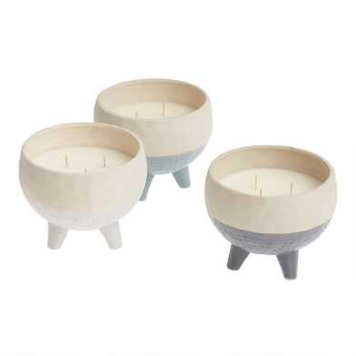 Glazed Ceramic Tripod Filled Jar Candle Collection