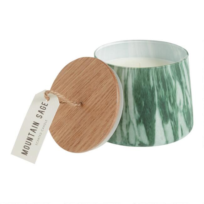 Green Mountain Sage Marbled Glass Filled Jar Candle