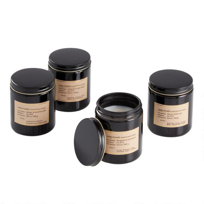 Black Glass Filled Jar Candle Collection