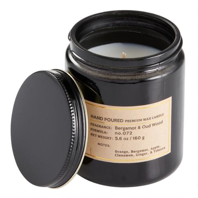 Bergamot and Oud Black Glass Filled Jar Candle