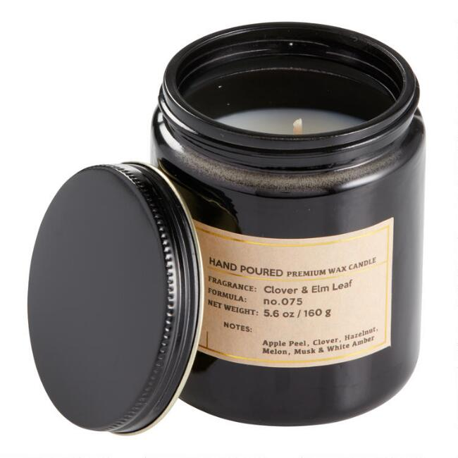 Clover and Elm Black Glass Filled Jar Candle