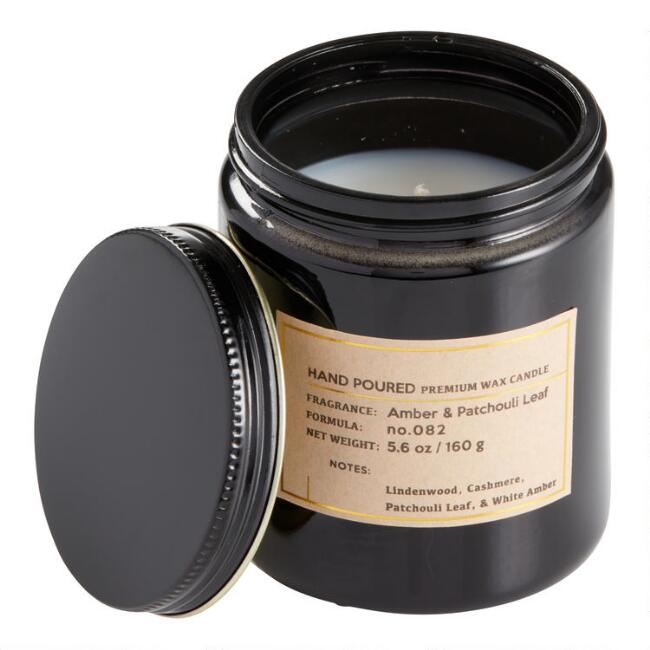 White Amber and Patchouli Black Glass Filled Jar Candle