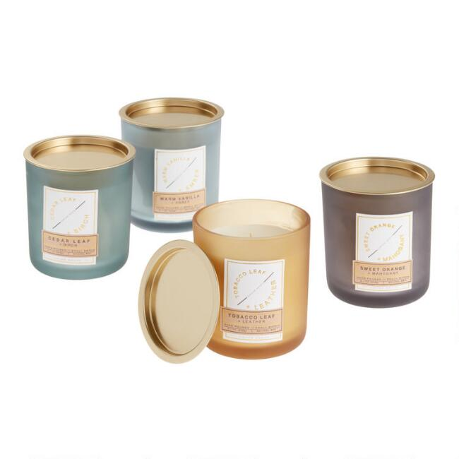 Frosted Glass with Gold Lid Filled Jar Candle Collection