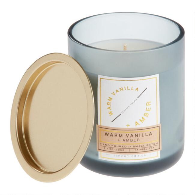 Warm Vanilla and Amber Frosted Glass Filled Jar Candle