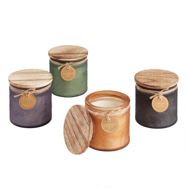 Embossed Medallion Filled Jar Candle Collection