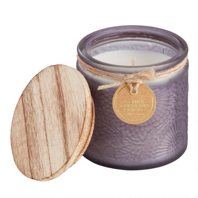 Jasmine and Gardenia Embossed Medallion Filled Jar Candle