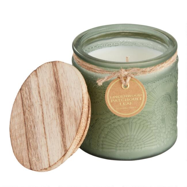 Lindenwood Patchouli Embossed Medallion Filled Jar Candle
