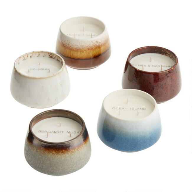 Calming Neutrals Soy Wax Reactive Glaze Filled Jar Candle