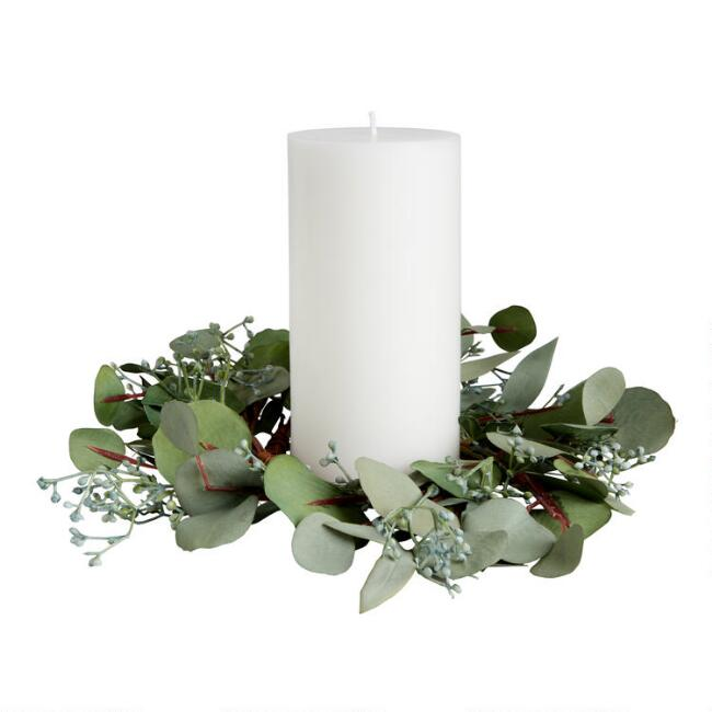 Faux Eucalyptus Leaf Candle Ring