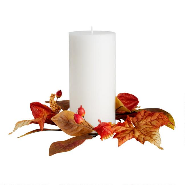 Faux Autumn Leaves Candle Ring