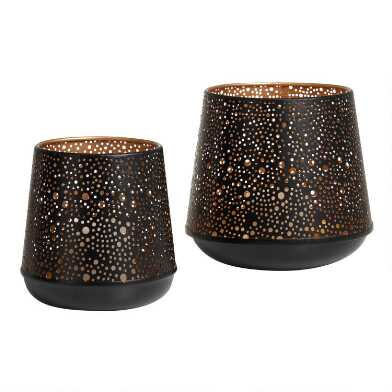 Black and Gold Metal Pierced Dot Hurricane Candleholder