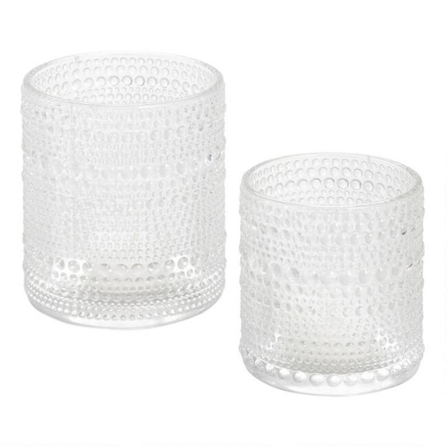 Clear Glass Embossed Dot Tealight Candleholder