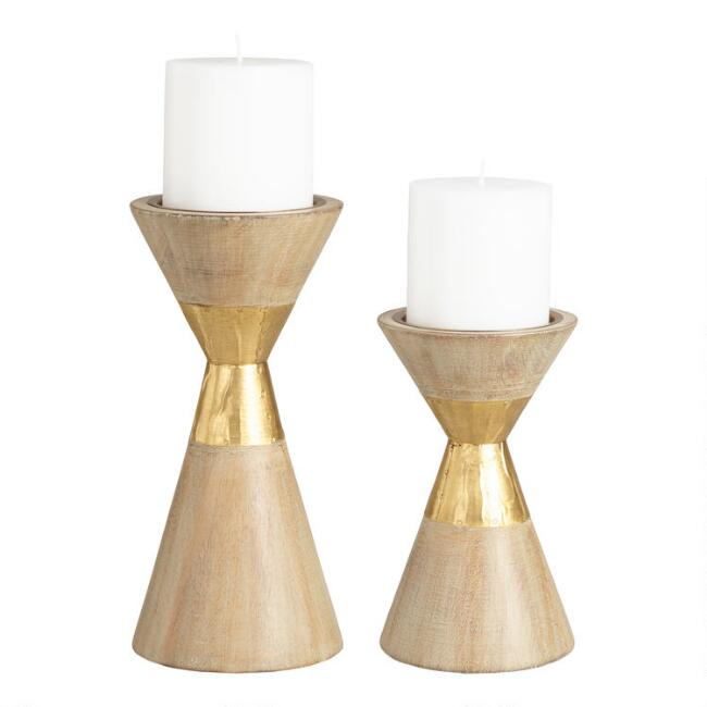 Gold Metal and Wood Contemporary Pillar Candleholder