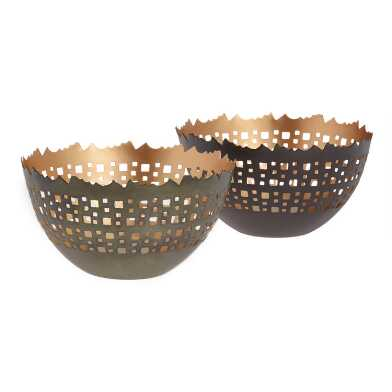 Pierced Metal Bowl Tealight Holder