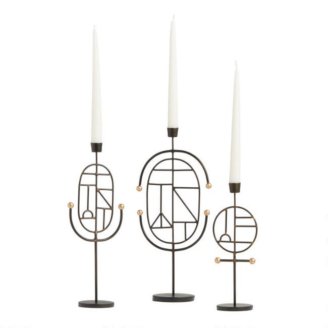 Black and Gold Modern Art Taper Candleholder