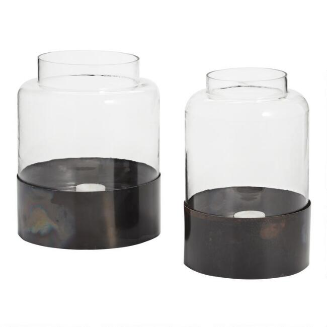 Clear Glass Hurricane Candleholder with Iron Base