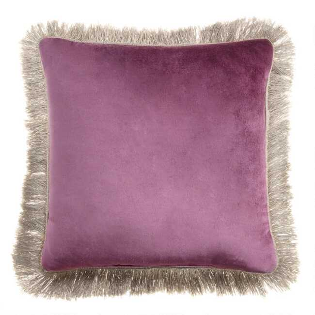 Swell Berry And Blush Velvet Reversible Throw Pillow With Fringe Machost Co Dining Chair Design Ideas Machostcouk