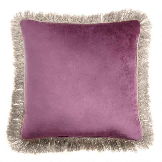 Berry and Blush Velvet Reversible Throw Pillow with Fringe