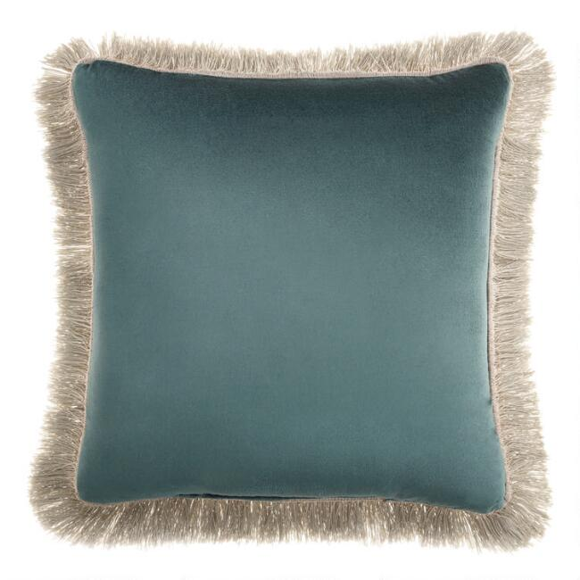 Teal and Jadeite Velvet Reversible Throw Pillow with Fringe