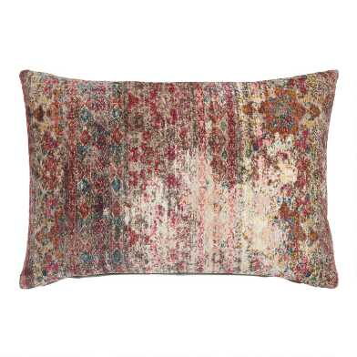 Oversized Distressed Persian Rug Print Lumbar Pillow