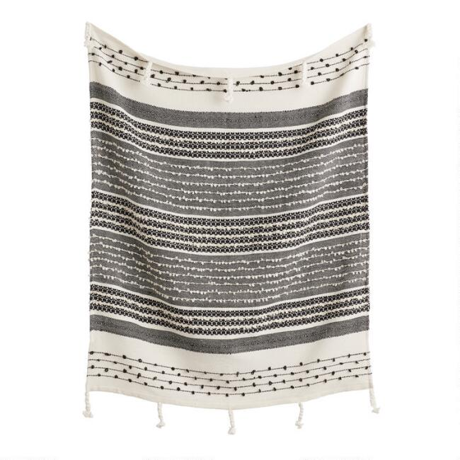 Black and Ivory Woven Indoor Outdoor Throw Blanket