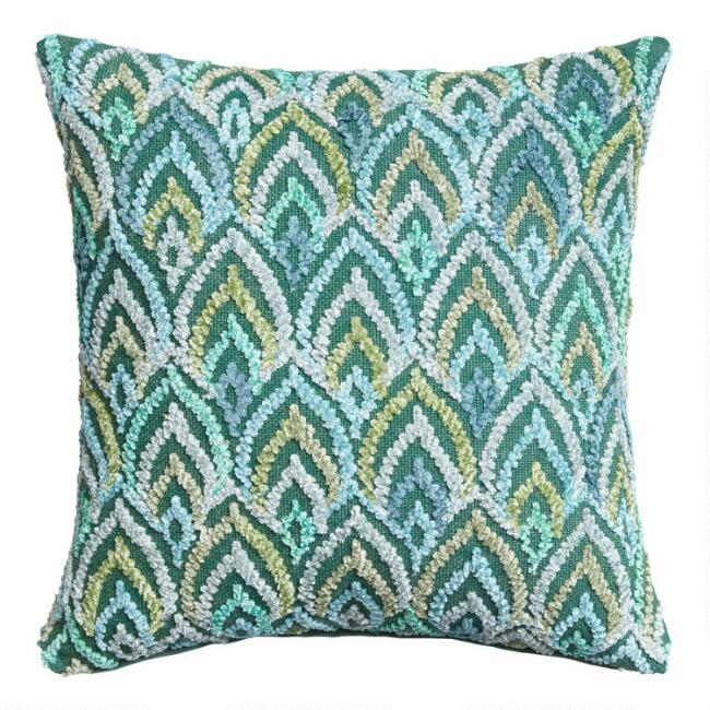 Embroidered Peacock Feather Throw Pillow