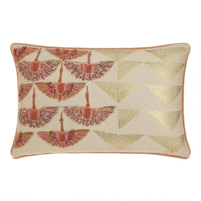 Gold Flock of Cranes Lumbar Pillow