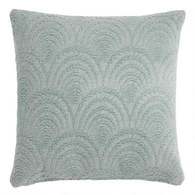 Sage Green Fan Jacquard Throw Pillow