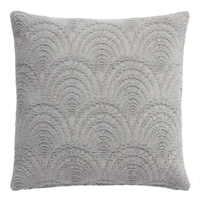 Gray Fan Jacquard Throw Pillow