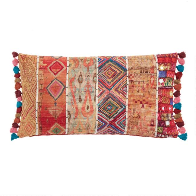 Oversized Warm Multicolor Patchwork Lumbar Pillow by World Market