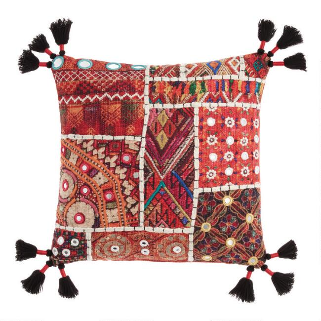 Multicolor Sari Patchwork Throw Pillow